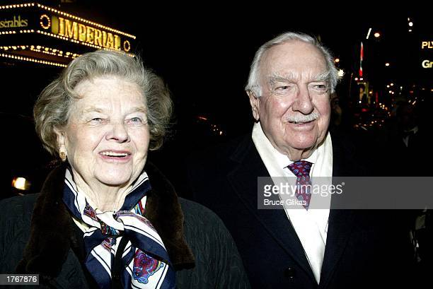 Betsy Maxwell with husband Walter Cronkite arrive at the opening night of 'Ma Rainey's Black Bottom' by August Wilson at the Royale Theatre on...