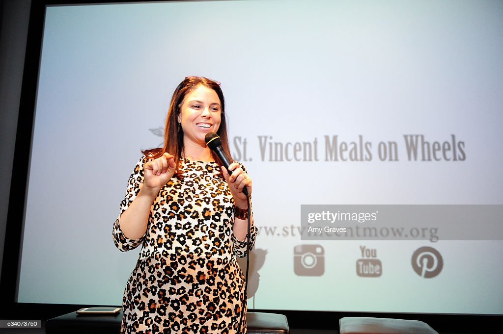 Betsy Rosenfeld Vargas addresses the crowd at the St. Vincent Meals on Wheels Beauty Event. Beauty Inside and Out on May 24, 2016 in Los Angeles California.