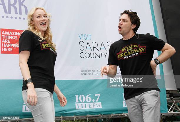 Betsy Wolfe and Zach Braff from the cast of 'Bullets Over Broadway' perform during 1067 LITE FM's Broadway in Bryant Park 2014>> at Bryant Park on...