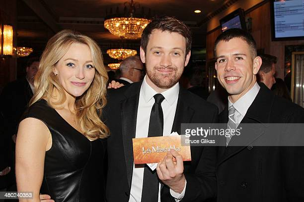 Betsy Wolfe Michael Arden and Stephen Karam attend the Broadway opening night of 'Les Miserables' at The Imperial Theatre on March 23 2014 in New...
