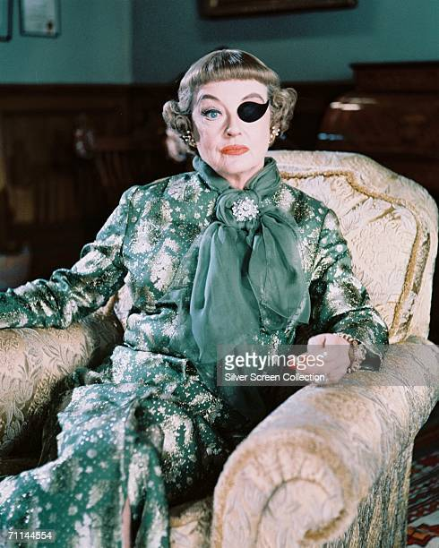 Bette Davis wearing an eyepatch in her role as Mrs Taggart in Roy Ward Baker's comedy 'The Anniversary' 1968