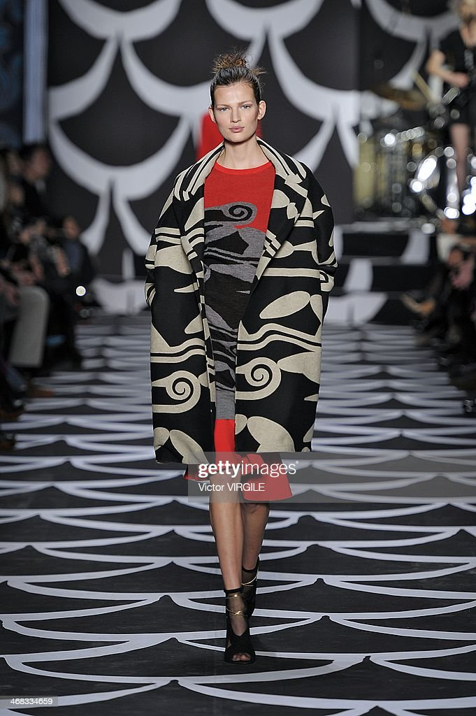 Bette Franke walks the runway at the Diane Von Furstenberg Ready to Wear Fall/Winter 2014-2015 fashion show during Mercedes-Benz Fashion Week Fall 2014 at Spring Studios on February 9, 2014 in New York City.