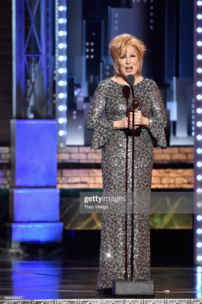 """Bette Midler accepts the award for Best Performance by an Actress in a Leading Role in a Musical for """"Hello, Dolly!"""" onstage during the 2017 Tony Awards at Radio City Music Hall on June 11, 2017 in New York City."""
