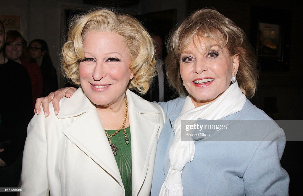 Bette Midler and Barbara Walters attend the 'I'll Eat You Last: A Chat With Sue Mengers' Broadway opening night after-party at The Russian Tea Room on April 24, 2013 in New York City.
