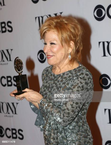 """Bette Midler winner of the award for Best Actress in a Musical for """"Hello Dolly"""" poses in the press room during the 2017 Tony Awards at 3 West Club..."""