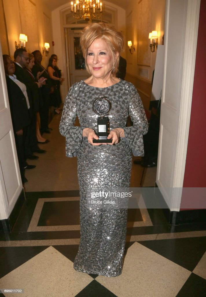 """Bette Midler, winner of the award for Best Actress in a Musical for """"Hello, Dolly!,"""" poses in the press room during the 2017 Tony Awards at 3 West Club on June 11, 2017 in New York City."""