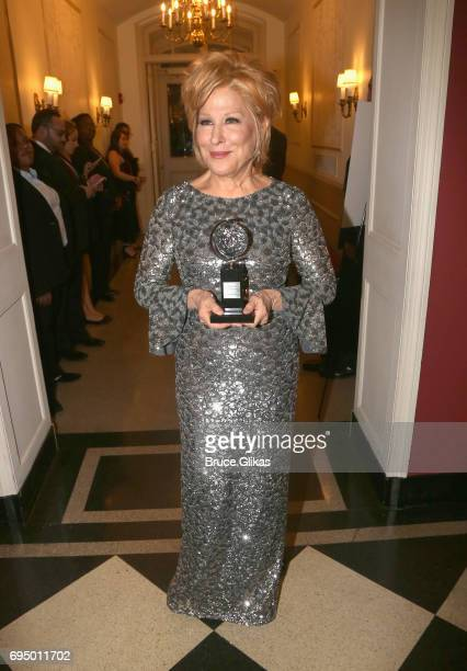"Bette Midler winner of the award for Best Actress in a Musical for ""Hello Dolly"" poses in the press room during the 2017 Tony Awards at 3 West Club..."