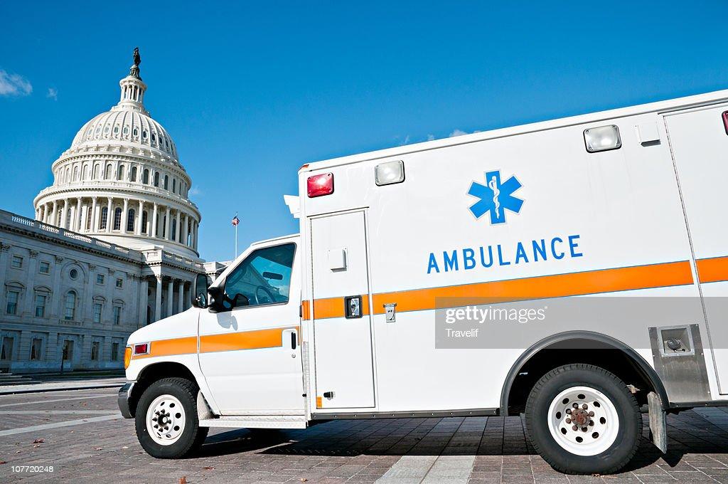 Better safe than sorry ? ambulance near Capitol : Stock Photo