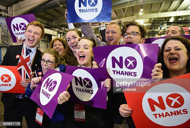 'Better Together' supporters celebrate the result of the Scottish referendum on independence at the count centre for the Scottish referendum at...