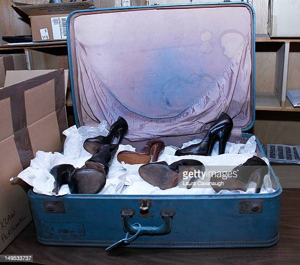 Bettie Page's suitcase and shoes at Movie Star News Collection auction press preview at Movie Star News on July 25 2012 in New York City