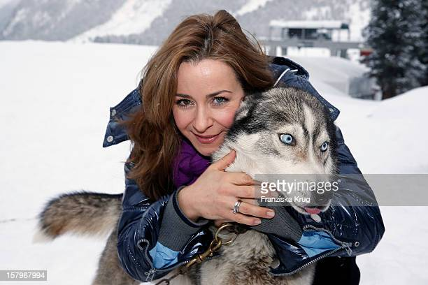 Bettina Cramer attends the Tirol Cross Mountain Sledge Dog Race at Kuehtai Castle on December 08 in Kuehtai Austria