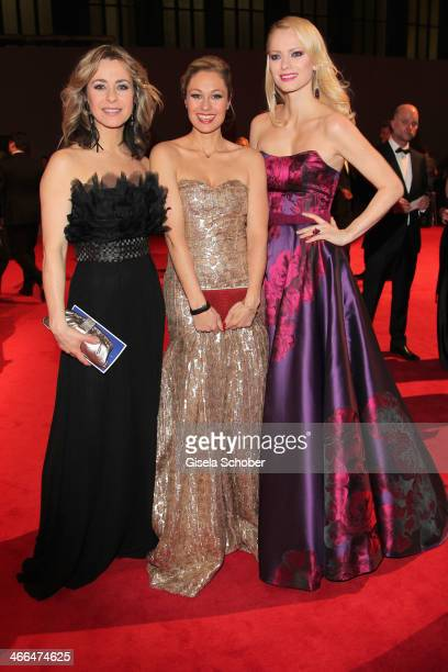 Bettina Cramer Ruth Moschner and Franziska Knuppe attend the Goldene Kamera 2014 at Tempelhof Airport Hangar 7 on February 1 2014 in Berlin Germany