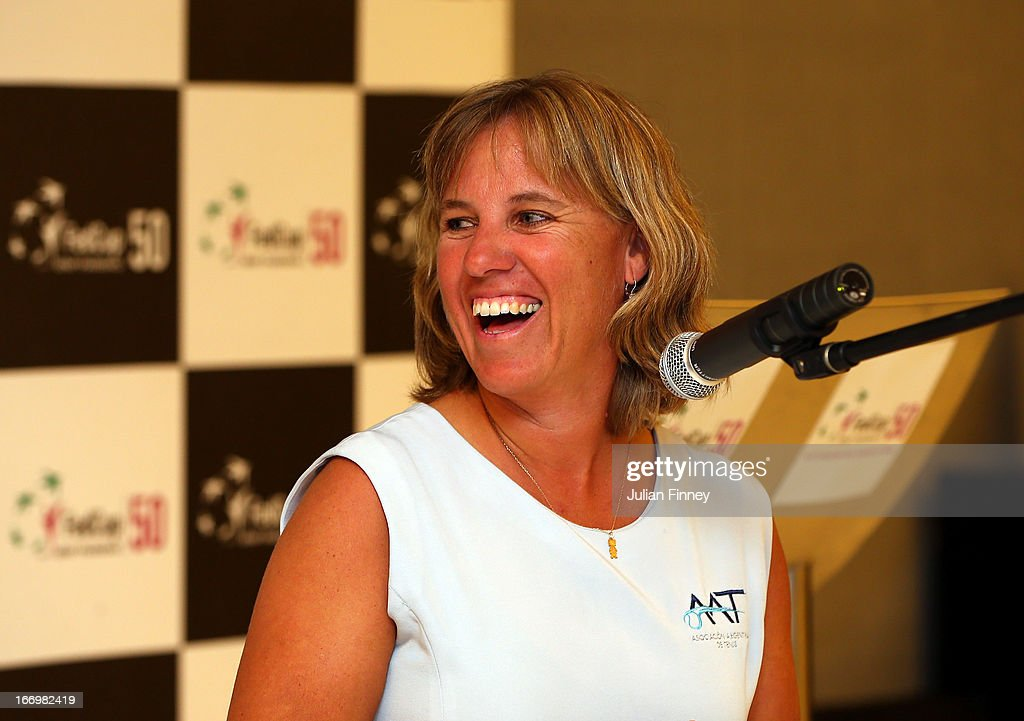 Bettina Fulco, captain of Argentina talks at the dinner during previews ahead of the Fed Cup World Group Two Play-Offs between Argentina and Great Britain at Parque Roca on April 18, 2013 in Buenos Aires, Argentina.