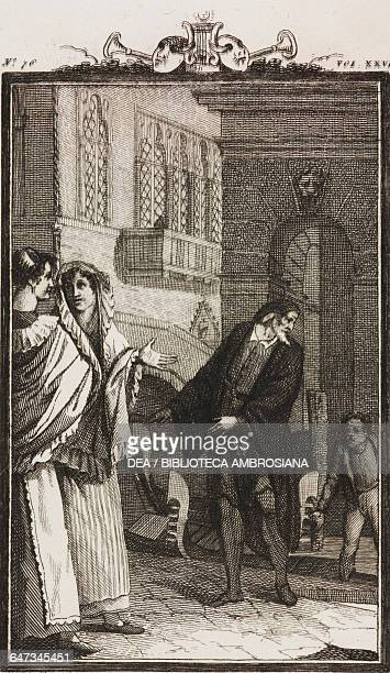 Bettina her sister Catte and Pantalone in Venice engraving by Antonio Viviani from a drawing by G Steneri from The Prostitute Honored Act II Scene 22...