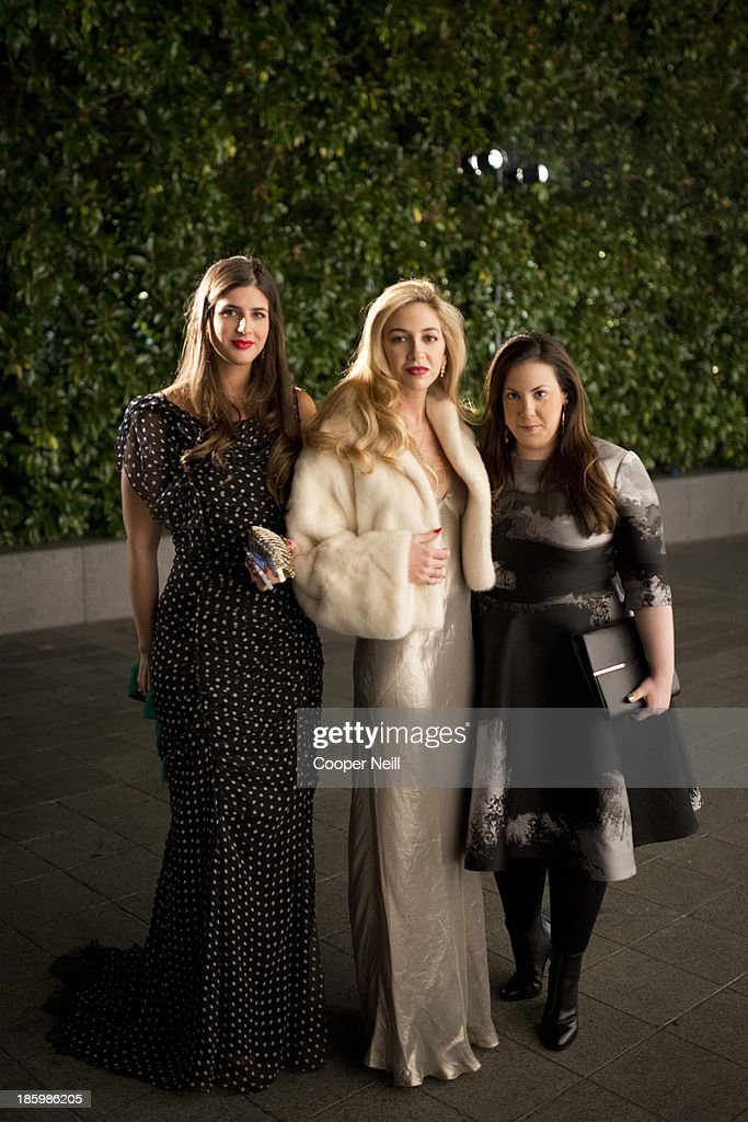 Bettina Santo Domingo, Sabine Ghanem and Mary Katrantzou arrive for the 2013 TWO x TWO for AIDS and Art Gala at the Rachofsky House on October 26, 2013 in Dallas, Texas.