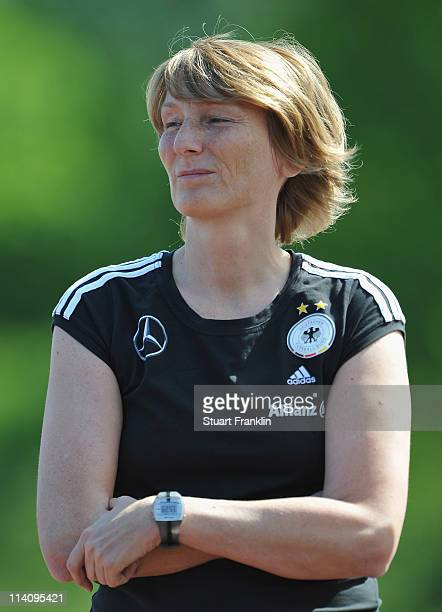 Bettina Wiegmann head coach of Germany U19's womens team looks on during the womens U19's international friendly match between Germany and Russia on...