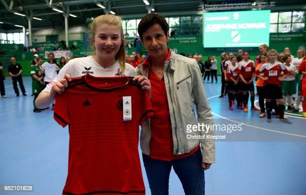 Bettina Wiegmann U15 Women's national coach of Germany honours leading goalscorer Lina Vianden of 1 FC Koeln during the C Junior Girl's German Futsal...