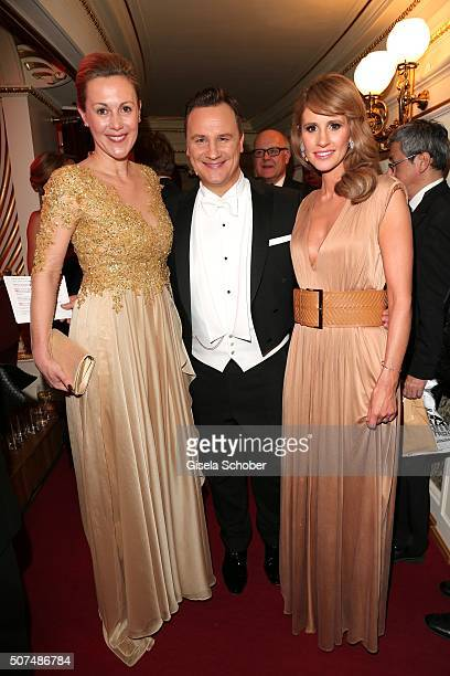 Bettina Wulff fashion designer Guido Maria Kretschmer and Mareile Hoeppner during the Semper Opera Ball 2016 at Semperoper on January 29 2016 in...