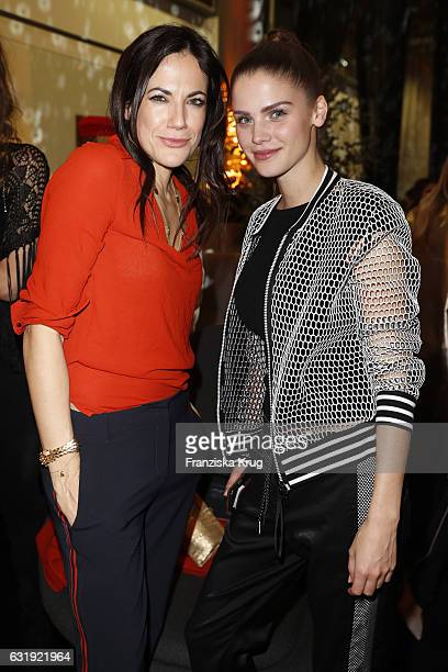 Bettina Zimmermann and Lisa Tomaschewsky attend the VIP cocktail reception after the Marc Cain fashion show A/W 2017 at Deutsche Telekom...