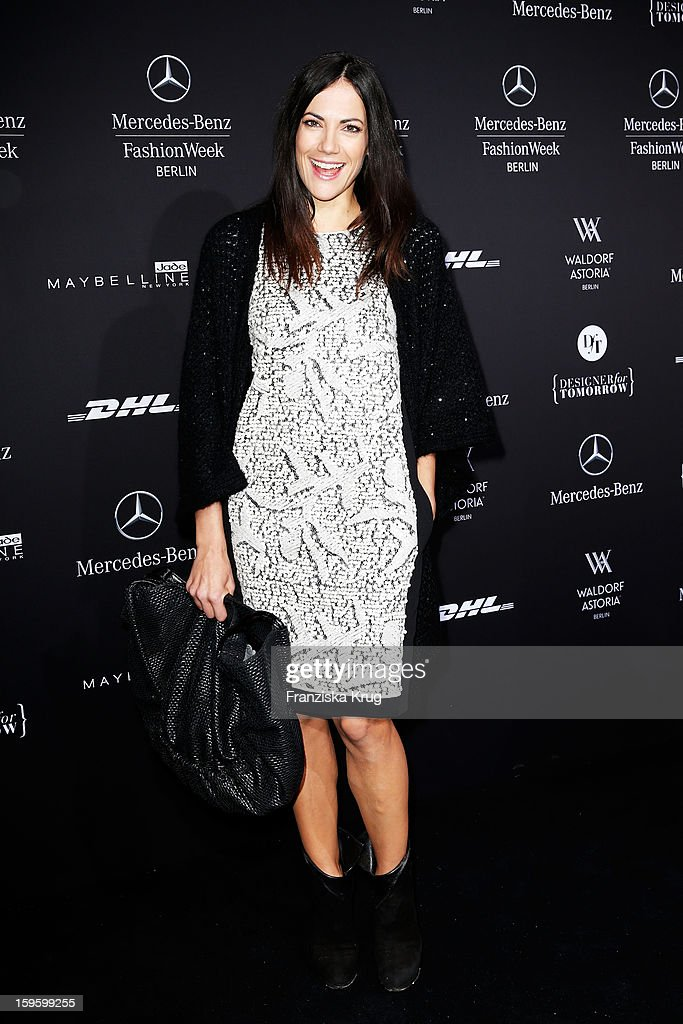 Bettina Zimmermann attends Schumacher Autumn/Winter 2013/14 Fashion Show during Mercedes-Benz Fashion Week Berlin at Brandenburg Gate on January 17, 2013 in Berlin, Germany. on January 17, 2013 in Berlin, Germany.