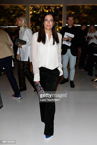 Bettina Zimmermann attends the Dorothee Schumacher show during the MercedesBenz Fashion Week Berlin Spring/Summer 2016 at Stage at me Collectors Room...