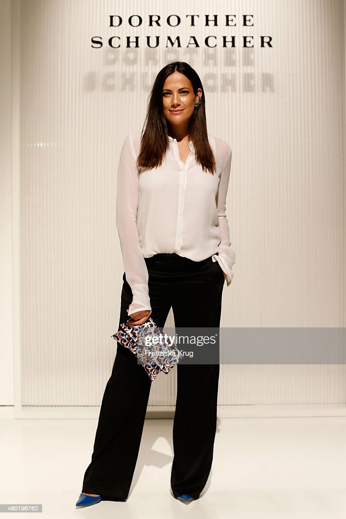 Bettina Zimmermann attends the Dorothee Schumacher show during the Mercedes-Benz Fashion Week Berlin Spring/Summer 2016 at Stage at me Collectors Room on July 10, 2015 in Berlin, Germany.