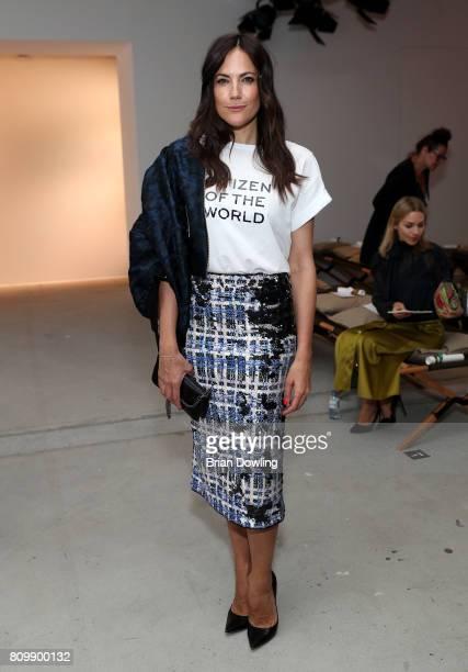 Bettina Zimmermann attends the Dorothee Schumacher show during the MercedesBenz Fashion Week Berlin Spring/Summer 2018 at Kaufhaus Jandorf on July 6...