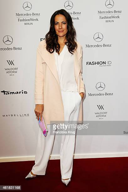 Bettina Zimmermann attends the Marc Cain show during the MercedesBenz Fashion Week Berlin Autumn/Winter 2015/16 at Brandenburg Gate on January 20...