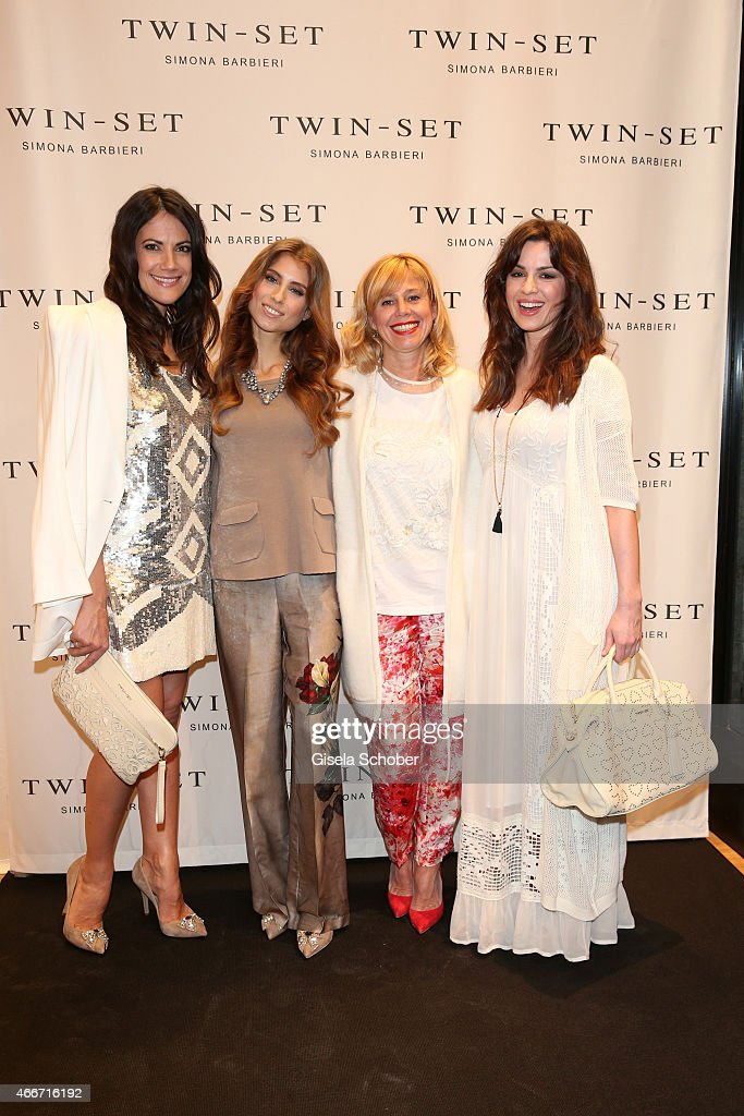 Bettina Zimmermann Cathy Fischer Simona Barbieri and Natalia Avelon pose during the TWINSET Simona Barbieri FlagshipStore Opening Event on March 18...