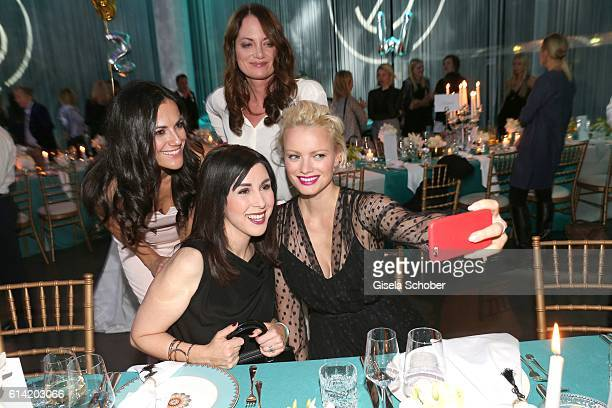 Bettina Zimmermann Natalia Woerner Judith Williams and Franziska Knuppe make a selfie during the 5th anniversary of Westwing on October 12 2016 in...
