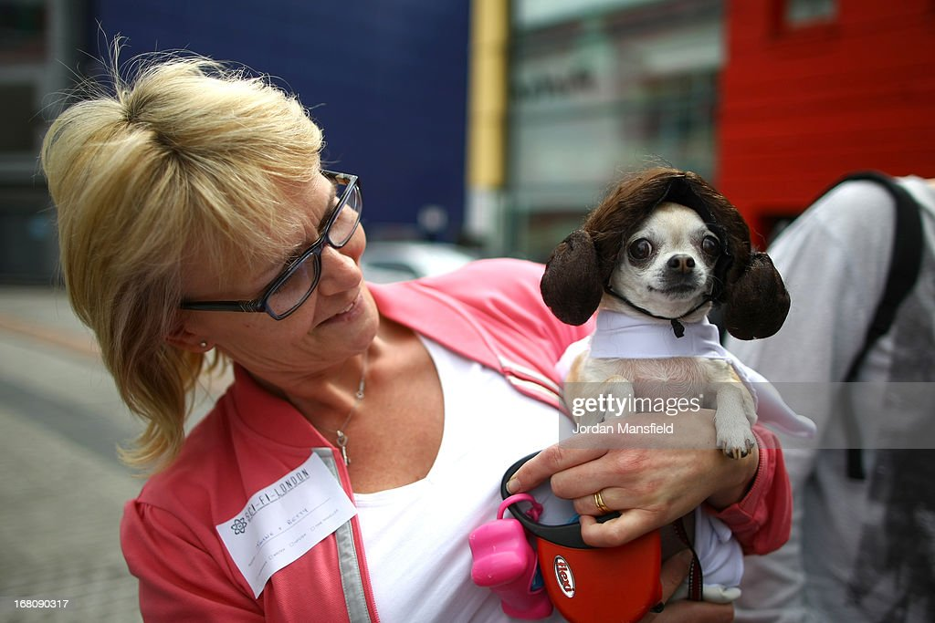 Betty, a Teacup Chihuahua is dressed up as the character Princess Leia from the film Star Wars with owner Jayne Barley on May 5, 2013 in London, England. Enthusiasts gathered at the Picture House in Stratford to parade their dogs dressed up as famous Sci-Fi characters as part a London-wide event called Sci-Fi London.