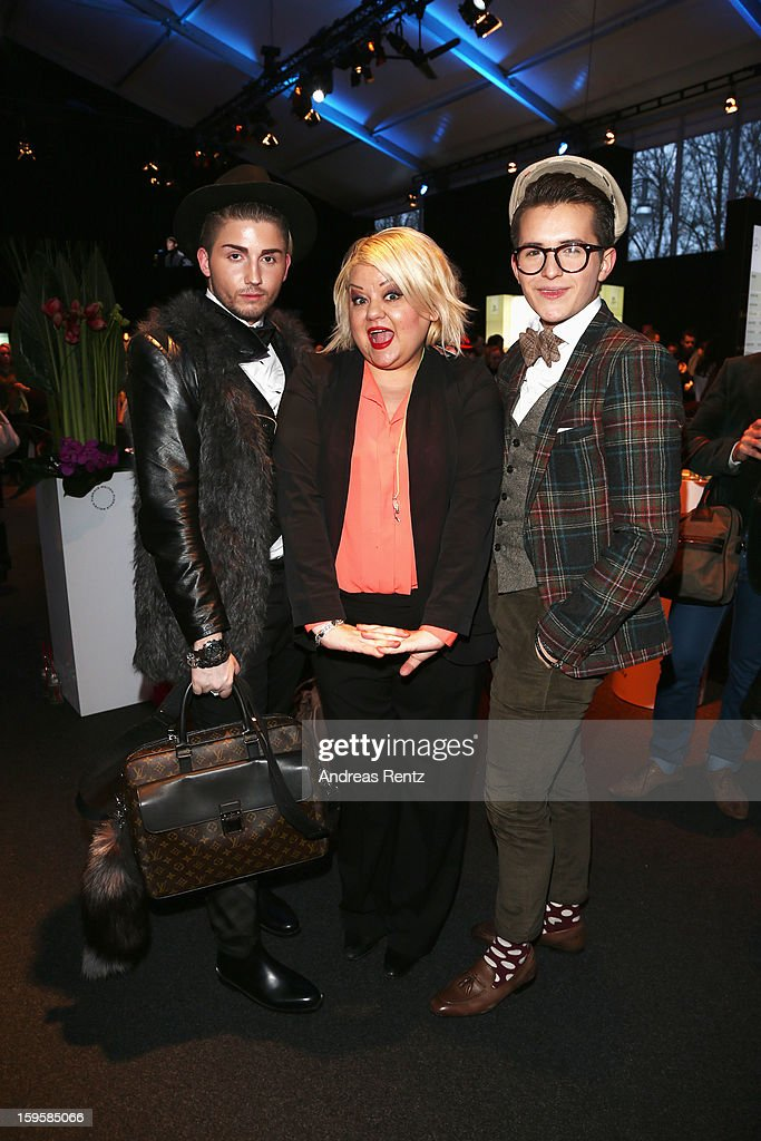 Betty Amrhein (C) attends Holy Ghost Autumn/Winter 2013/14 fashion show during Mercedes-Benz Fashion Week Berlin at Brandenburg Gate on January 16, 2013 in Berlin, Germany.