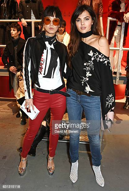Betty Bachz and Doina Ciobanu attend the Belstaff presentation during London Fashion Week Men's January 2017 collections at Ambika P3 on January 9...