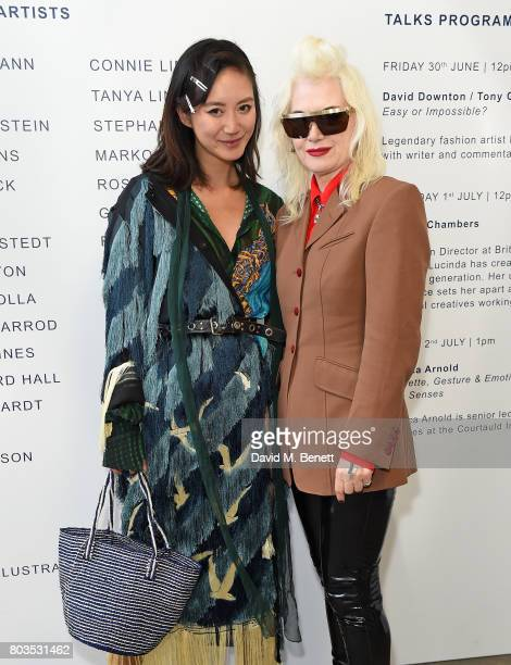 Betty Bachz and Pam Hogg attend the Fashion Illustration Gallery Art Fair private view at The Shop at Bluebird cohosted b Lucinda Chambers and Wendy...