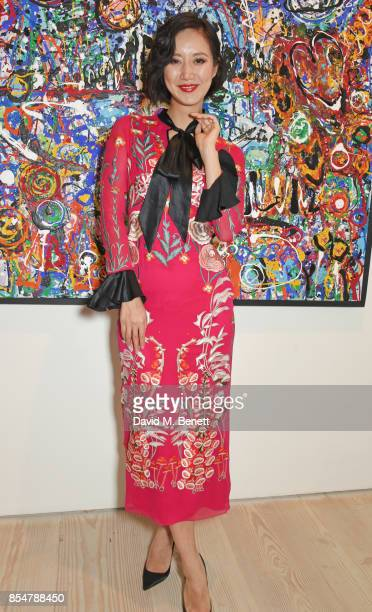 Betty Bachz attends the private view and launch of Sacha Jafri's 18 year retrospective global tour 'Universal Consciousnes' at The Saatchi Gallery on...