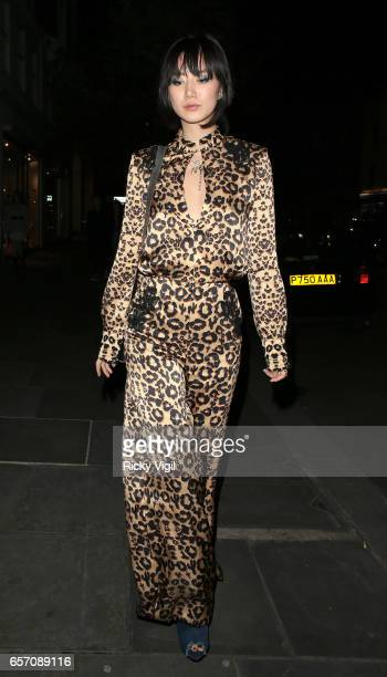 Betty Bachz seen on a night out leaving Restaurant Ours in Knightsbridge on March 23 2017 in London England