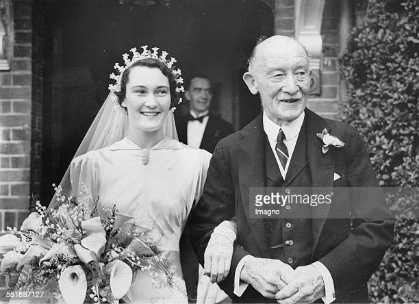 Betty BadenPowell at her wedding with her father Robert BadenPowell 24th September 1936 Photograph