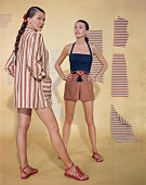Betty Bridges models a Guatemalan cotton beach jacket while Sabine shows off a beach playsuit with halter top