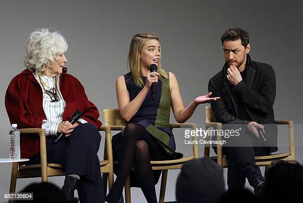 Betty Buckley Anya TaylorJoy and James McAvoy attend Meet the Actor James McAvoy Anya TaylorJoy and Betty Buckley to discuss 'Split' at Apple Store...