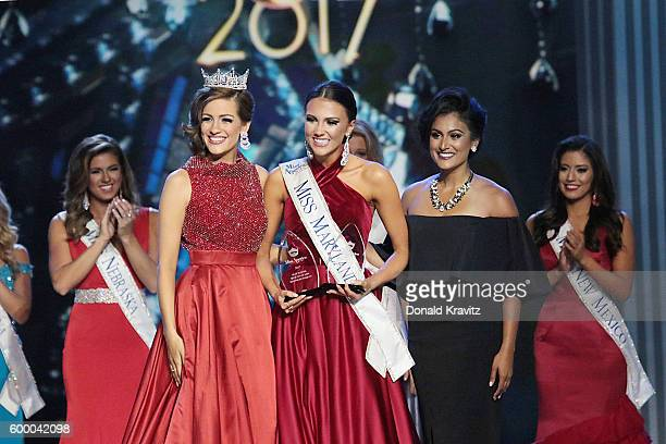 Betty Cantrell Hannah Brewer and Nina Davuluri appear onstage during Miss America 2017 2nd Night of Preliminary Competition at Boardwalk Hall Arena...