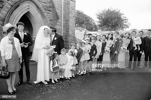 Betty Finn 22 weds Dermot Healey 27 pictured outside church at Bohernabree County Dublin Ireland Betty is the eldest child of proud parents John Finn...