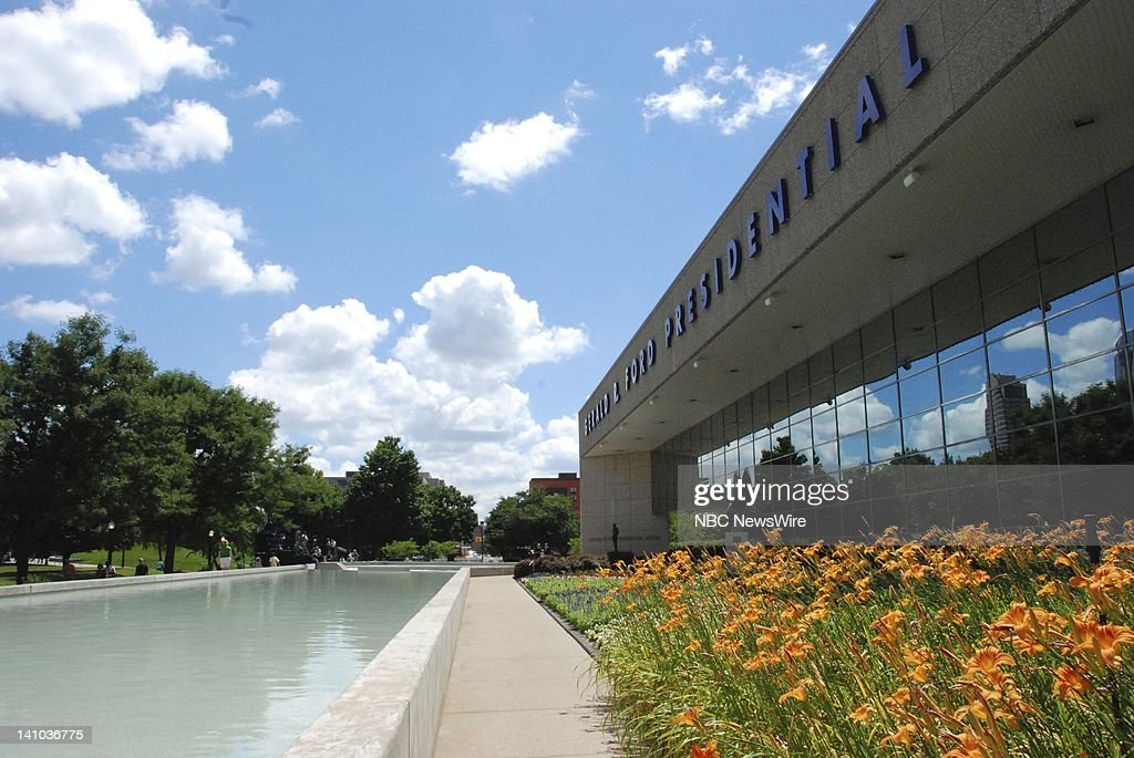 NBC NEWS Betty Ford Memorial Pictured The exterior of the Gerald R Ford Museum on July 13 2011 the day wife Elizabeth 'Betty' Ford's body arrived for...