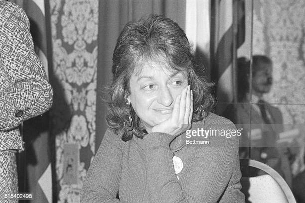 Betty Friedan is seen here at a National Organization for Women meeting where Shirley Chisholm spoke