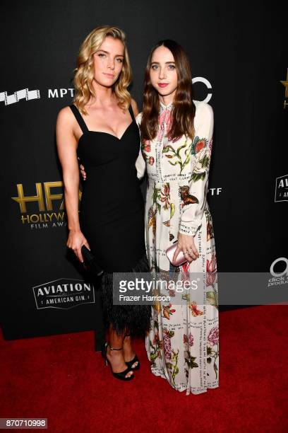 Betty Gilpin and honoree Zoe Kazan attend the 21st Annual Hollywood Film Awards at The Beverly Hilton Hotel on November 5 2017 in Beverly Hills...
