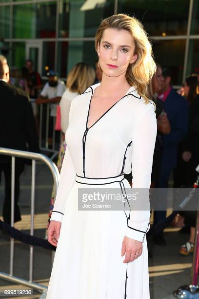 Betty Gilpin arrives at the premiere Of Netflix's 'GLOW' at The Cinerama Dome on June 21 2017 in Los Angeles California