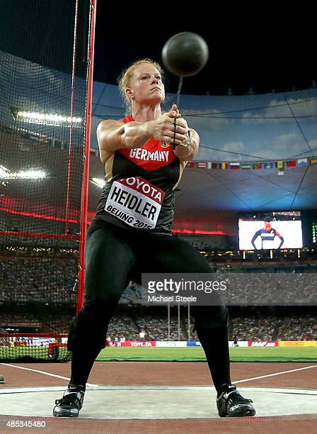 Betty Heidler of Germany competes in the Women's Hammer Final during day six of the 15th IAAF World Athletics Championships Beijing 2015 at Beijing...
