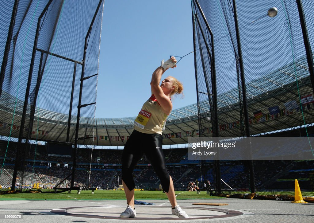 Betty Heidler of Germany competes in the women's Hammer Throw Qualification during day five of the 12th IAAF World Athletics Championships at the Olympic Stadium on August 19, 2009 in Berlin, Germany.