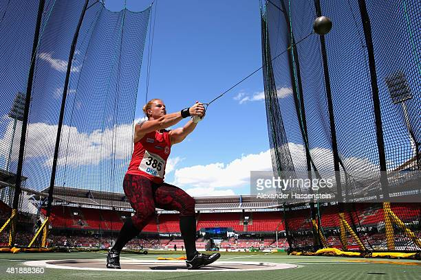 Betty Heidler of LG Eintracht Frankfurt competes in the womens hammer throw finale during day 2 of the German Championships in Athletics at Grundig...