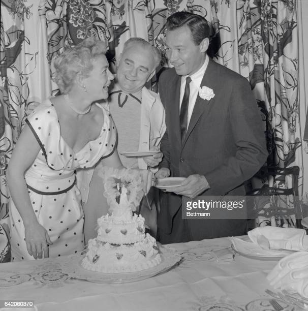 Betty Hutton Weds Las Vegas Nev Actreessinger Betty Hutton cuts the wedding cake at a reception in Las Vegas following her marriage to recording...