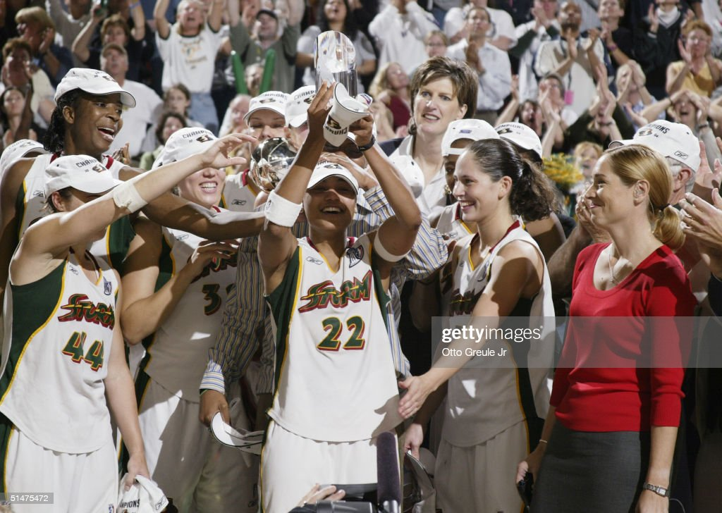 Betty Lennox of the Seattle Storm celebrates winning MVP in game 3 of the WNBA Finals Lennox scored 23 in the Storm's 7460 victory over the...